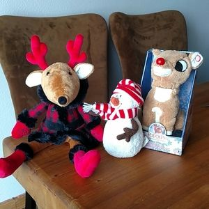 """Rudolph Animated Toy/Mrs Reindeer 14""""/Snowman 6"""""""